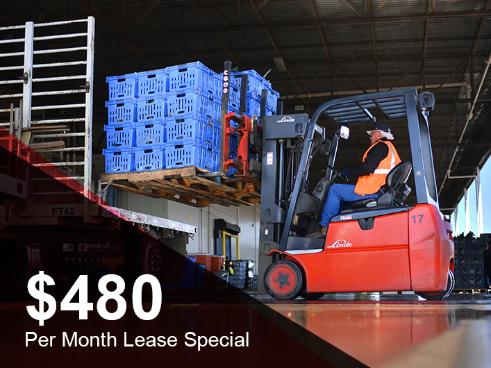 Special Promotion - $480 Lease Special on Linde 3-Wheel Electric Lift Trucks
