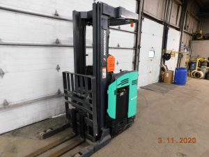 Used Mitsubish Electric Stand Up Rider Forklift for sale.