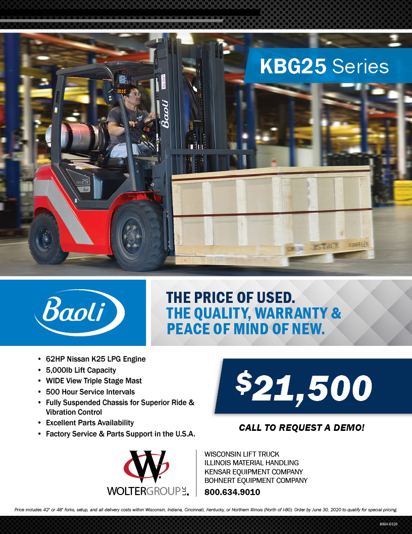 NEW Baoli KBG25 forklifts available from Kensar Equipment Company. Special pricing thru June 30, 2020!