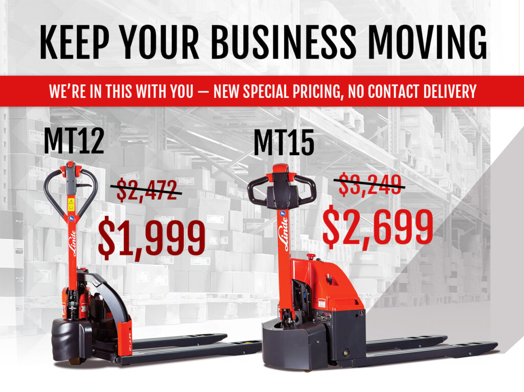Limited Time Offer on Linde MT12 and MT12 electric pallet trucks
