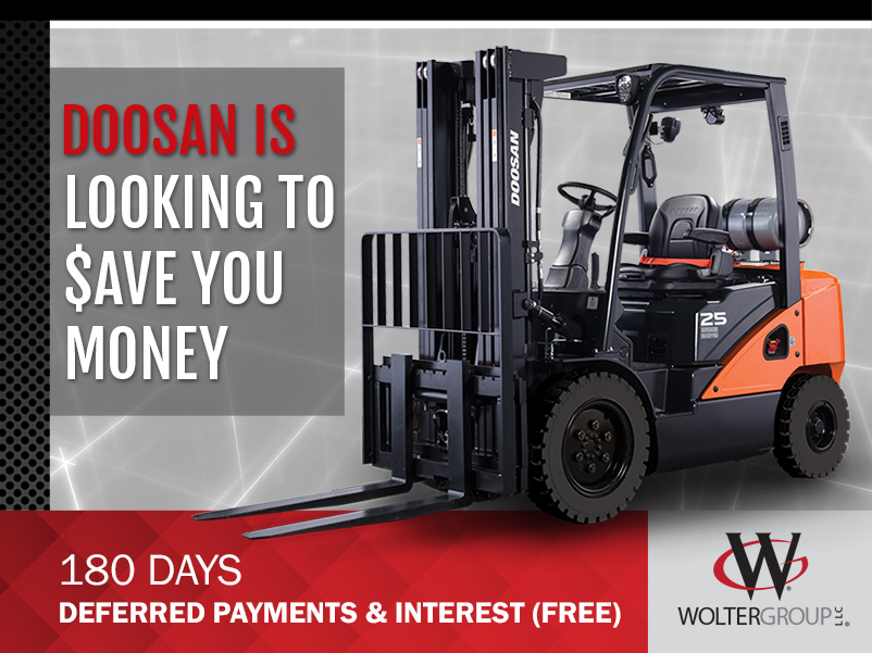 Doosan New Forklift Deferred Payment promotion. Available from Kensar Equipment.