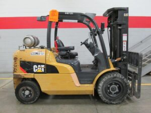 Used 12000lb CAT LP Forklift for sale at Kensar Equipment. Used forklift with pnumatic tires, triple stage mast, and side shift.