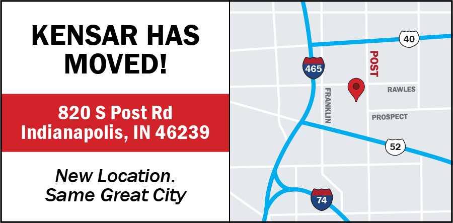 Kensar Equipment is now located at 820 S Post Rd, Indianapolis, IN 46239. Read the full announcement.