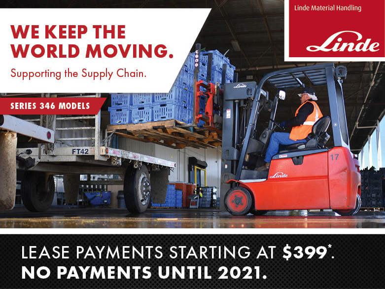 Electric Forklift Lease Special starting at $399/month on the Linde 346 Series. Offer ends 12/31/2020 - call today to schedule a free demo!