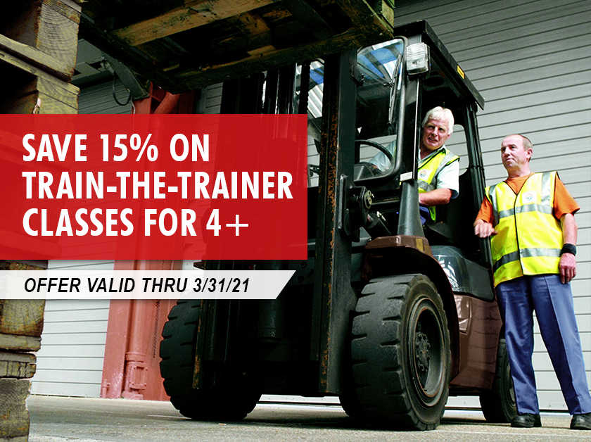 Train-the-Trainer classes for 4+ students at your location are 15% thru 3/31/2021.
