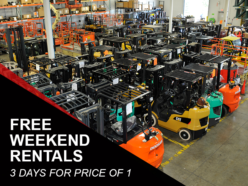 Forklift and aerial weekend rentals discount - Pay for and pick up Friday, and return Monday by 10:00AM. Offer ends 3/31/2021.
